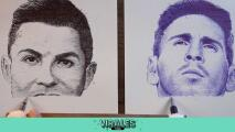 ¿Cómo hizo? Dibujante pinta de un trazo y simultáneamente a CR7 y a Messi