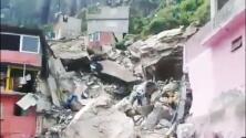 Sepultadas bajo escombros, así quedaron varias viviendas tras el derrumbe de un cerro cerca de la Ciudad de México