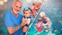 Gianluca Vacchi le da su primer baño en el mar a su hija Blu Jerusalema