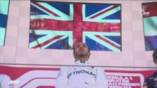 Un conmovido Hamilton celebró en el podio del Gran Premio de España