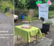 Con globos y bizcocho: Celebran el cumpleaños número 4 de hoyo en carretera de Orocovis
