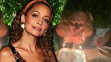 Tremendo susto: el cabello de Nicole Richie se incendia con su pastel de cumpleaños