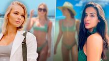 Irina Baeva reacciona al ver que Renata Notni usó el mismo bikini verde que ella