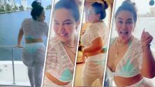 Chiquis no se desprende de su ropa transparente y baila con ella al ritmo de 'Mi cucu'
