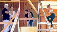 Enseñando abdomen en las alturas: las fotos de JLo supervisando la construcción de ¿su nueva mansión?