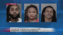 Tres sujetos acusados de tráfico de drogas