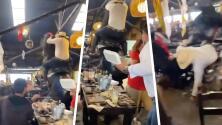 (Video) Caballo y jinete que ofrecían show en un restaurante caen sobre mesa llena de comensales