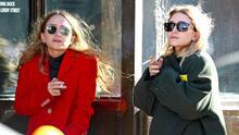 Juntas y con cigarro en mano las gemelas Olsen combaten el frío en Nueva York