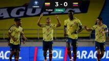 Colombia goleó a Venezuela; Stefan Medina 74', Camilo Vargas, los 90'.