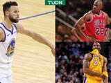 Stephen Curry destroza récords de Michael Jordan y Kobe Bryant